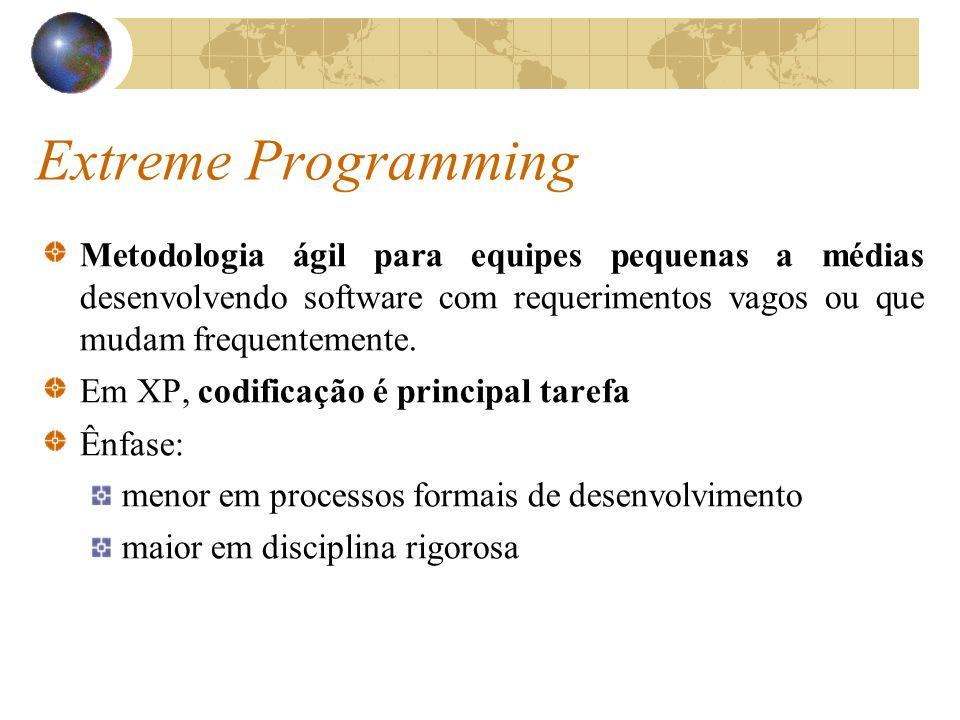 Extreme Programming Metodologia ágil para equipes pequenas a médias desenvolvendo software com requerimentos vagos ou que mudam frequentemente.