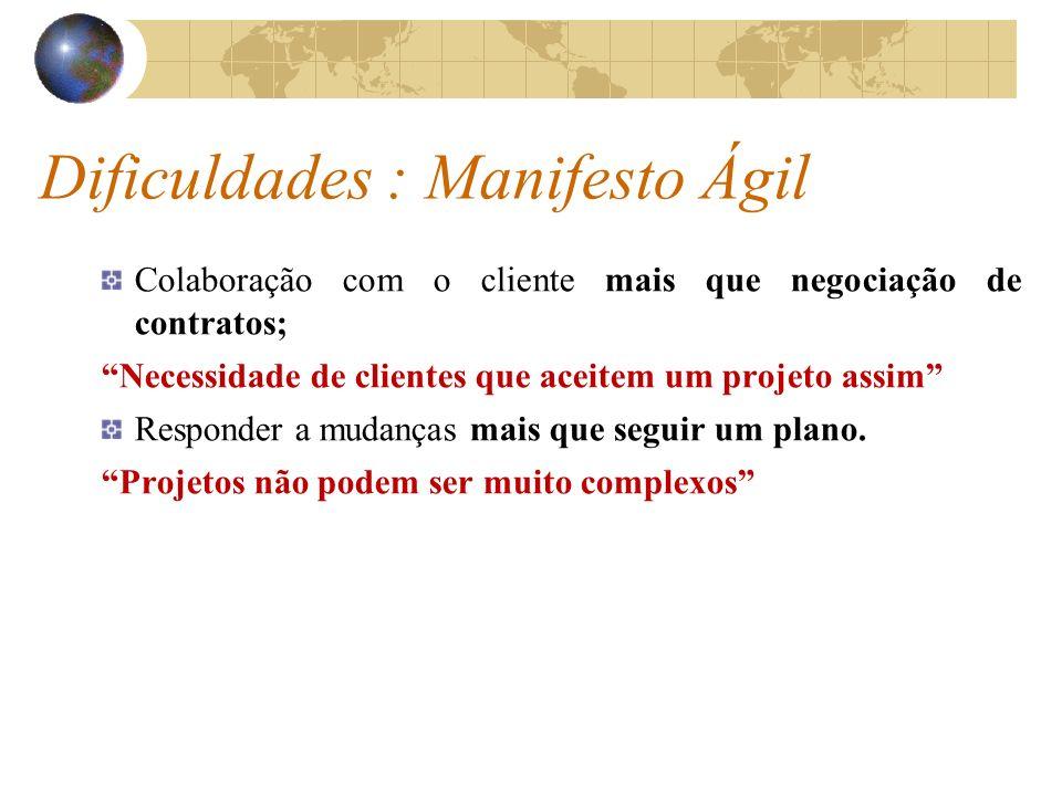 Dificuldades : Manifesto Ágil