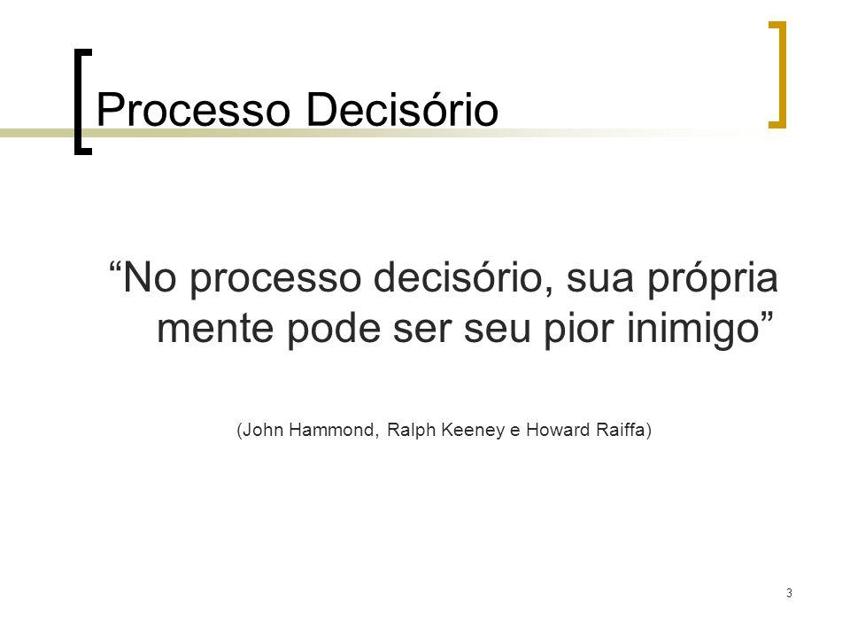 Processo Decisório No processo decisório, sua própria mente pode ser seu pior inimigo (John Hammond, Ralph Keeney e Howard Raiffa)
