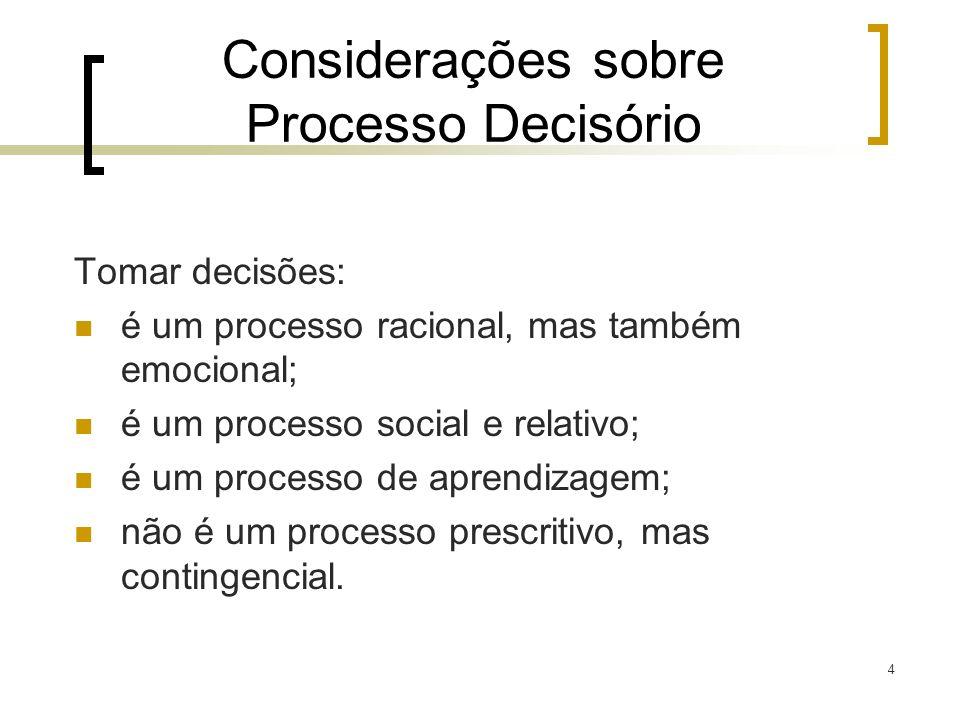 Considerações sobre Processo Decisório