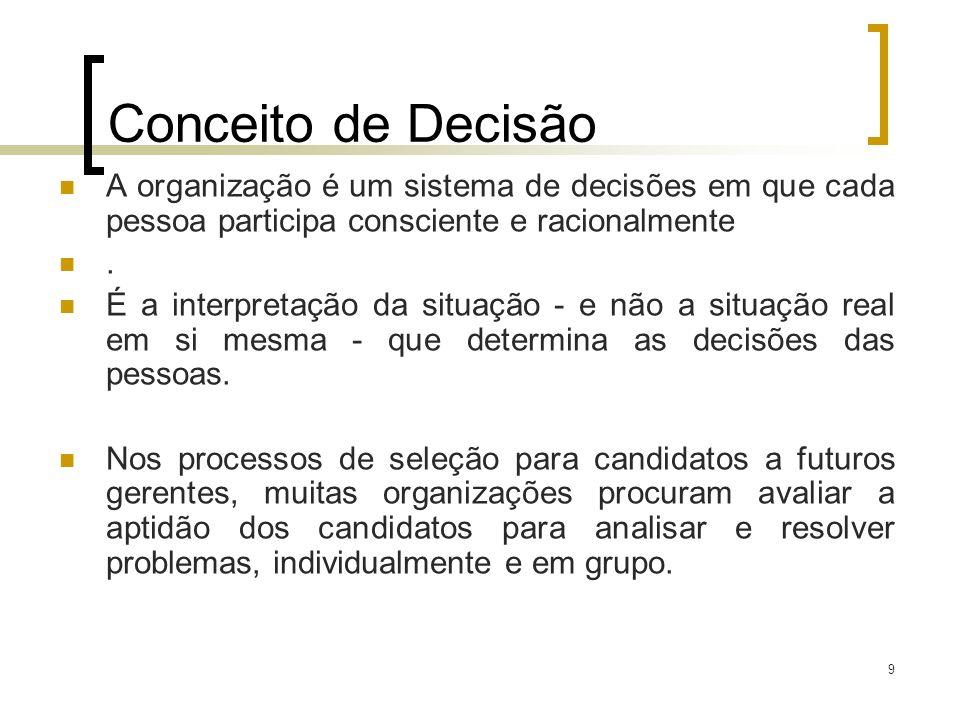 Conceito de Decisão A organização é um sistema de decisões em que cada pessoa participa consciente e racionalmente.