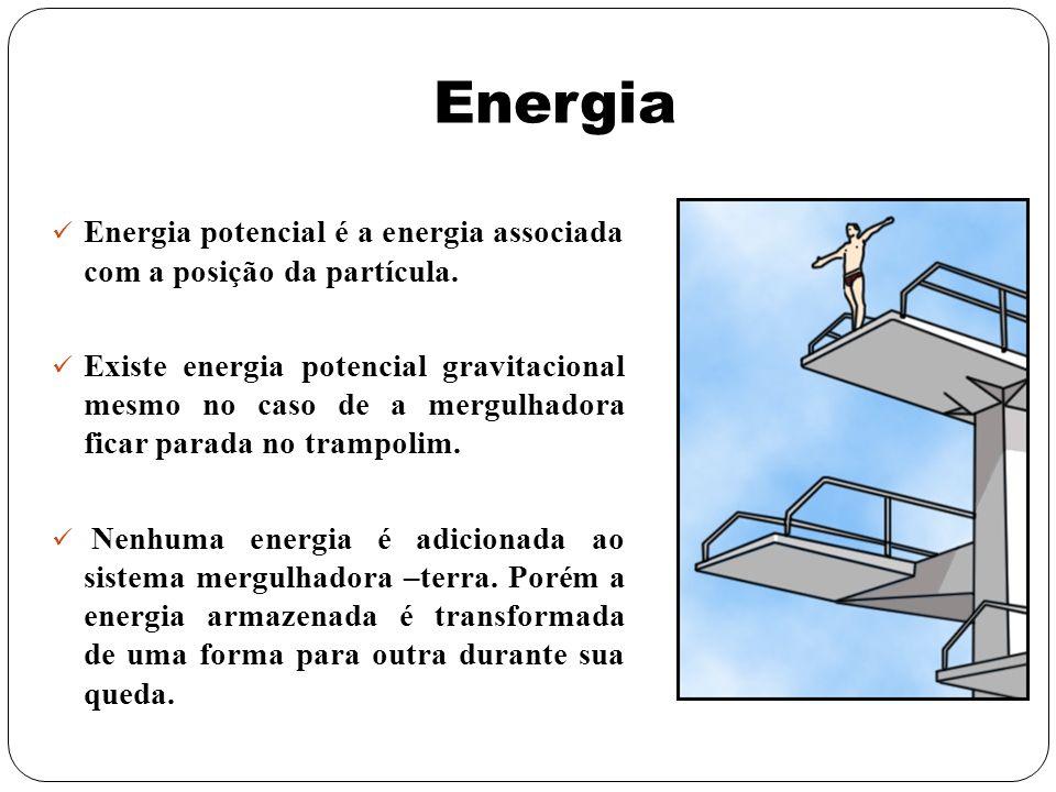 EnergiaEnergia potencial é a energia associada com a posição da partícula.