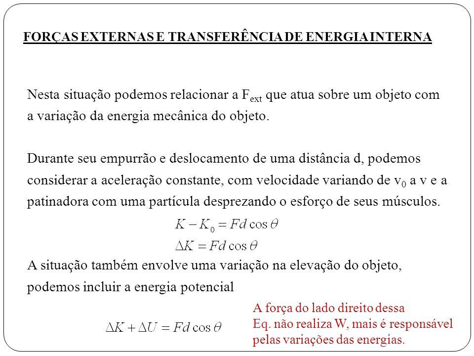 FORÇAS EXTERNAS E TRANSFERÊNCIA DE ENERGIA INTERNA
