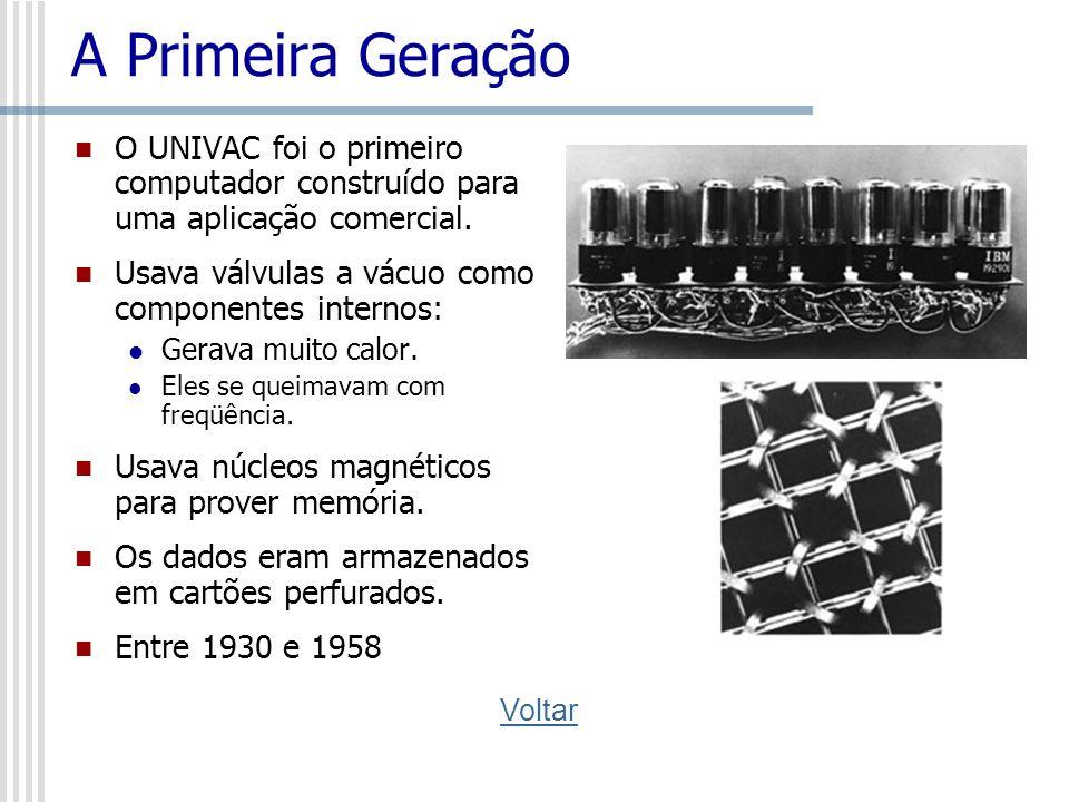 A Primeira Geração O UNIVAC foi o primeiro computador construído para uma aplicação comercial. Usava válvulas a vácuo como componentes internos: