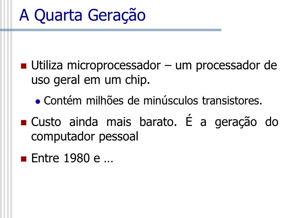 A Quarta GeraçãoUtiliza microprocessador – um processador de uso geral em um chip. Contém milhões de minúsculos transistores.