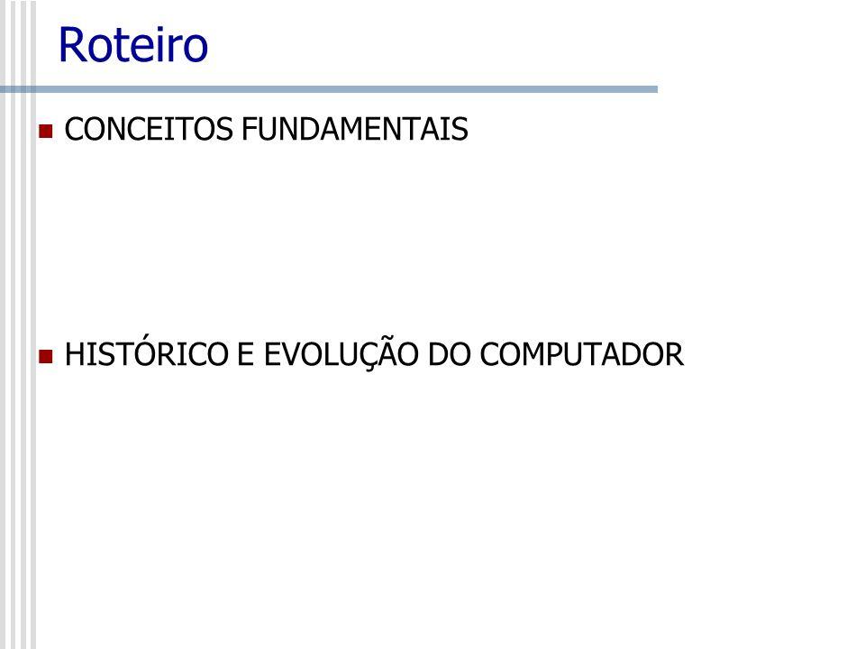 Roteiro CONCEITOS FUNDAMENTAIS HISTÓRICO E EVOLUÇÃO DO COMPUTADOR