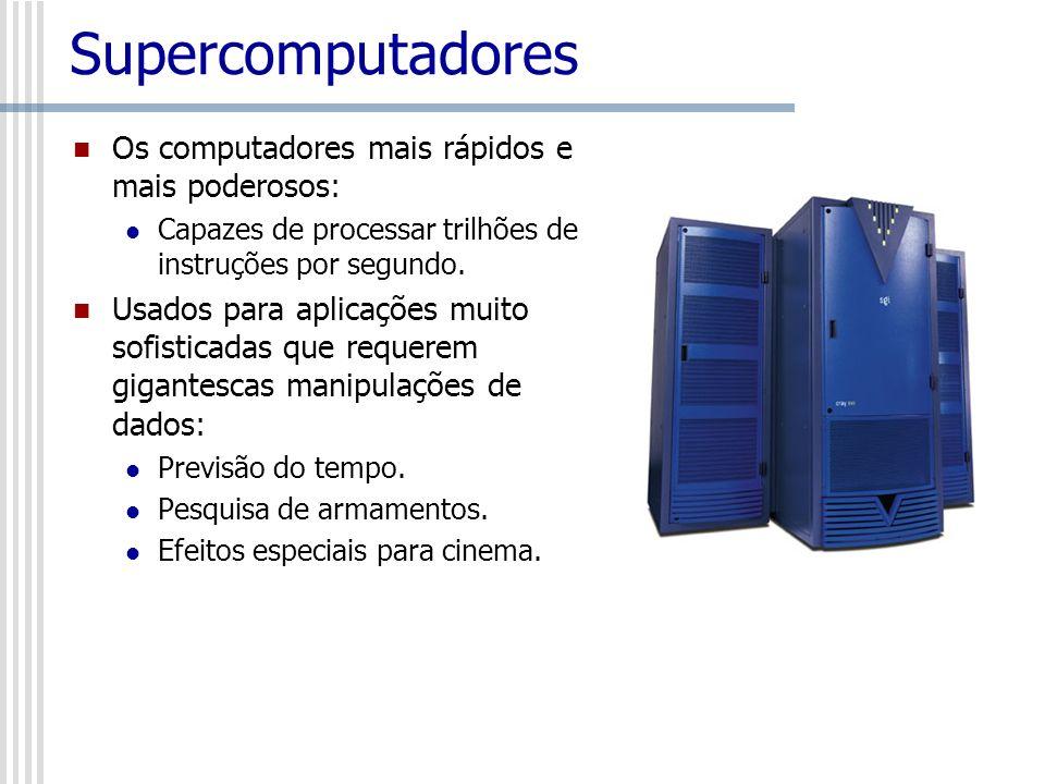 Supercomputadores Os computadores mais rápidos e mais poderosos: