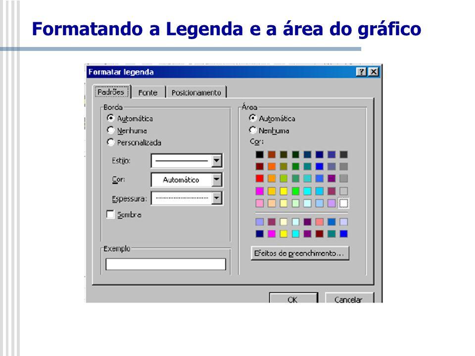 Formatando a Legenda e a área do gráfico