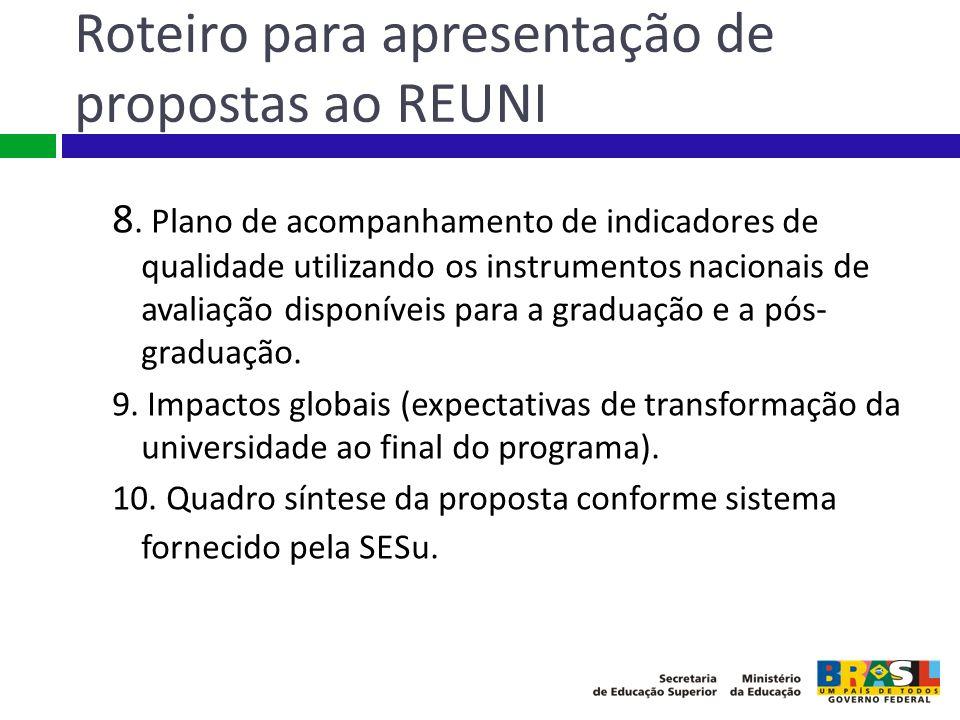 Roteiro para apresentação de propostas ao REUNI