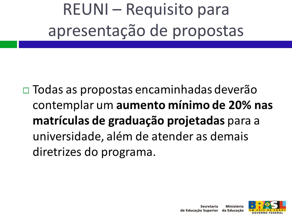 REUNI – Requisito para apresentação de propostas