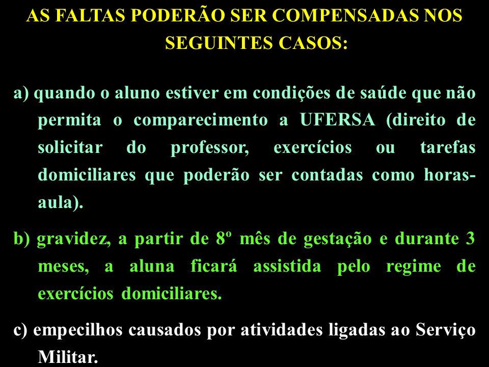 AS FALTAS PODERÃO SER COMPENSADAS NOS SEGUINTES CASOS: