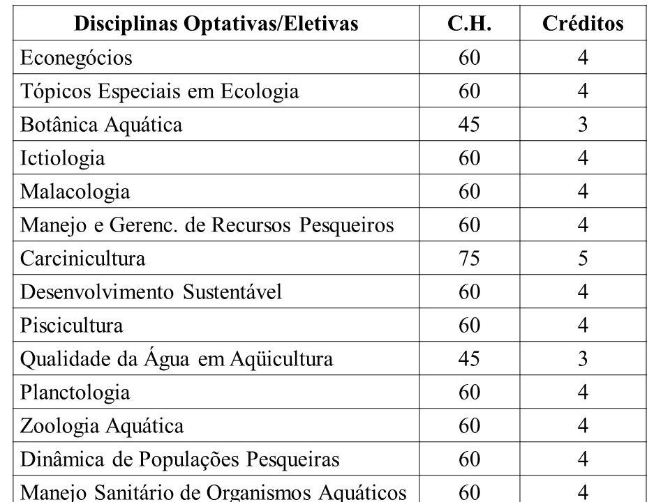 Disciplinas Optativas/Eletivas