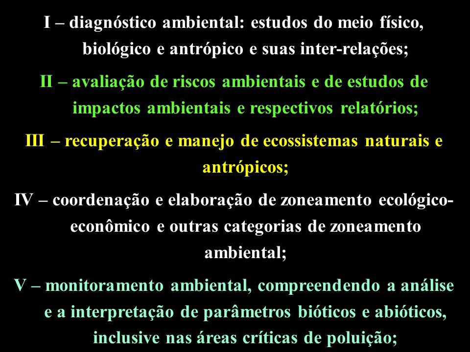 III – recuperação e manejo de ecossistemas naturais e antrópicos;