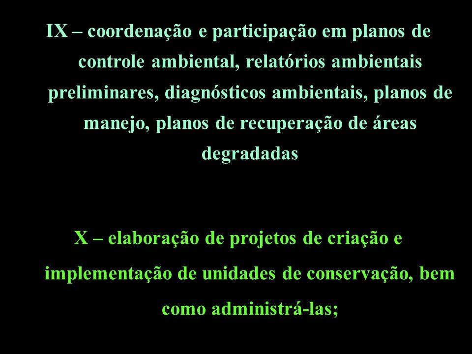 IX – coordenação e participação em planos de controle ambiental, relatórios ambientais preliminares, diagnósticos ambientais, planos de manejo, planos de recuperação de áreas degradadas