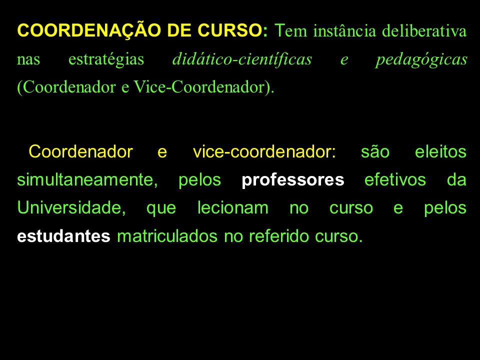 COORDENAÇÃO DE CURSO: Tem instância deliberativa nas estratégias didático-científicas e pedagógicas (Coordenador e Vice-Coordenador).