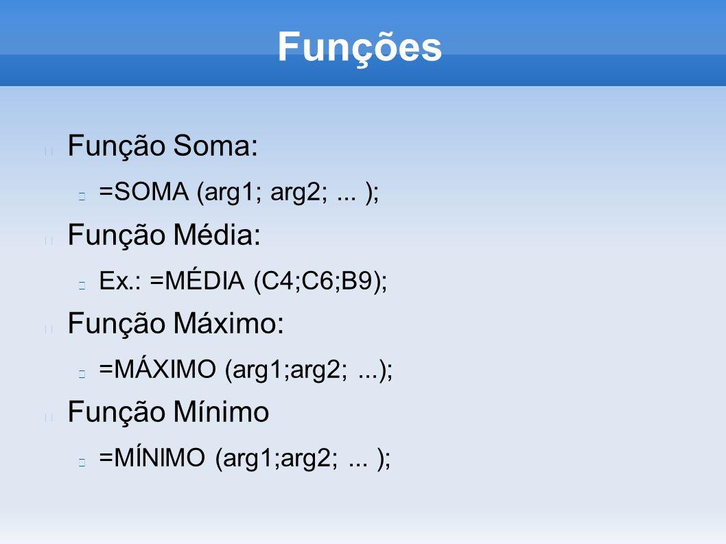 Funções Função Soma: Função Média: Função Máximo: Função Mínimo