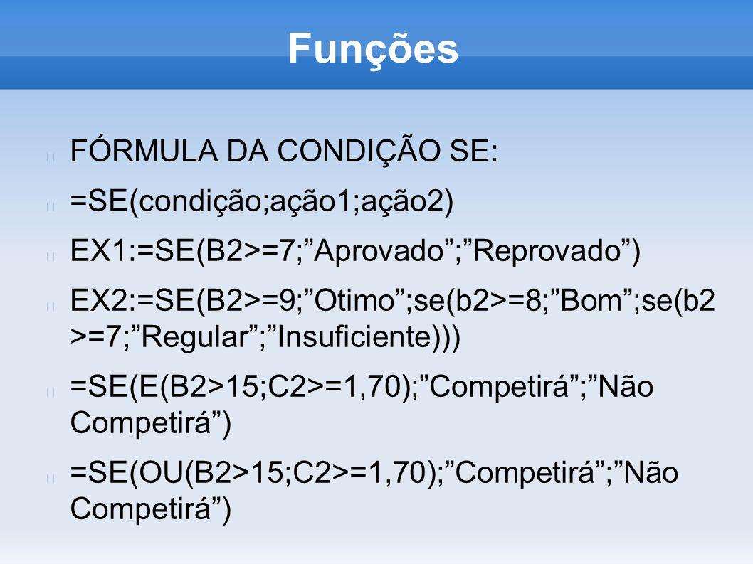 Funções FÓRMULA DA CONDIÇÃO SE: =SE(condição;ação1;ação2)