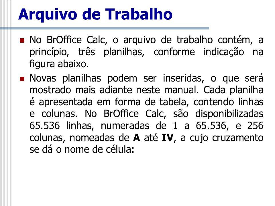 Arquivo de Trabalho No BrOffice Calc, o arquivo de trabalho contém, a princípio, três planilhas, conforme indicação na figura abaixo.