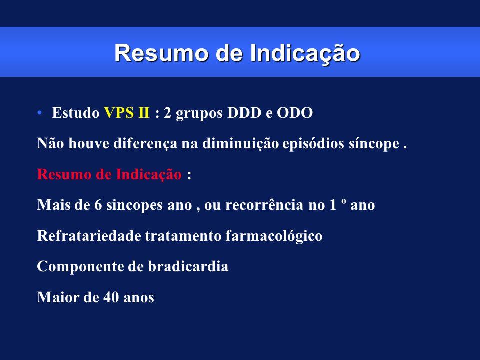 Resumo de Indicação Estudo VPS II : 2 grupos DDD e ODO