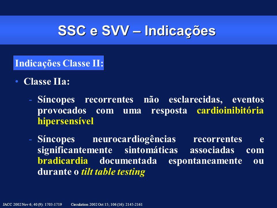 SSC e SVV – Indicações Indicações Classe II: Classe IIa:
