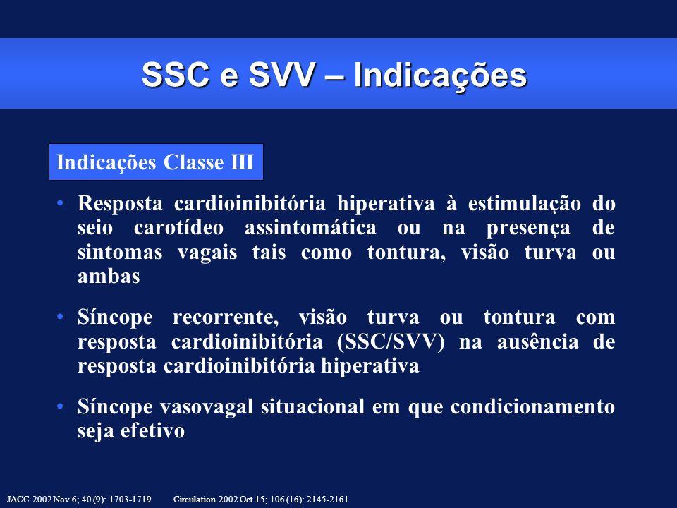 SSC e SVV – Indicações Indicações Classe III