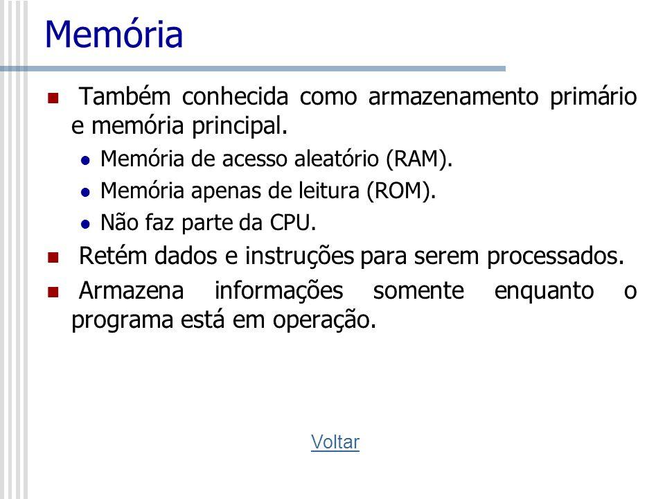 Memória Também conhecida como armazenamento primário e memória principal. Memória de acesso aleatório (RAM).