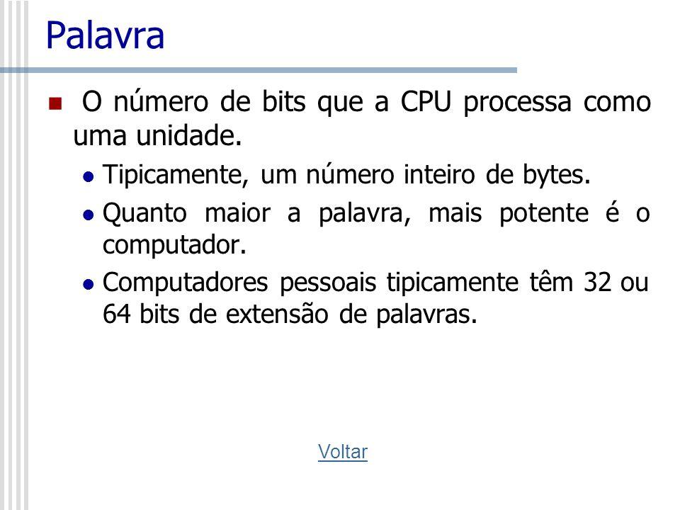 Palavra O número de bits que a CPU processa como uma unidade.