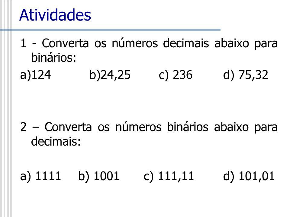 Atividades 1 - Converta os números decimais abaixo para binários: