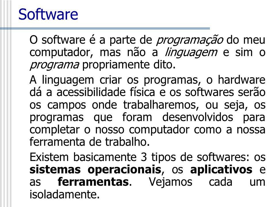 Software O software é a parte de programação do meu computador, mas não a linguagem e sim o programa propriamente dito.