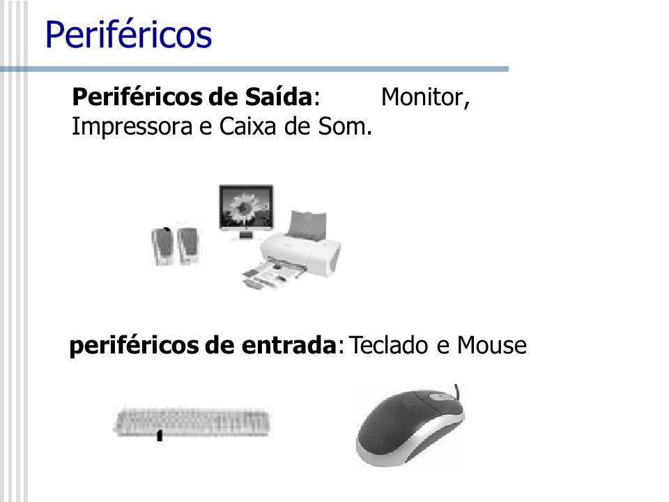 Periféricos Periféricos de Saída: Monitor, Impressora e Caixa de Som.