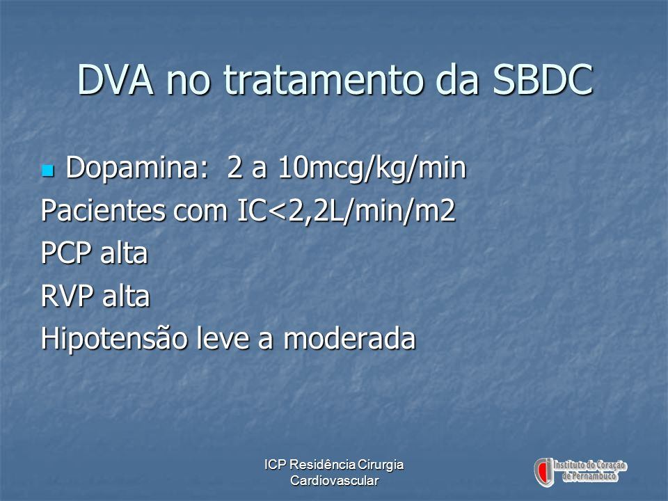 DVA no tratamento da SBDC