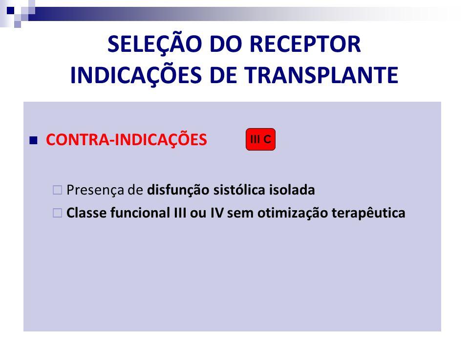 SELEÇÃO DO RECEPTOR INDICAÇÕES DE TRANSPLANTE