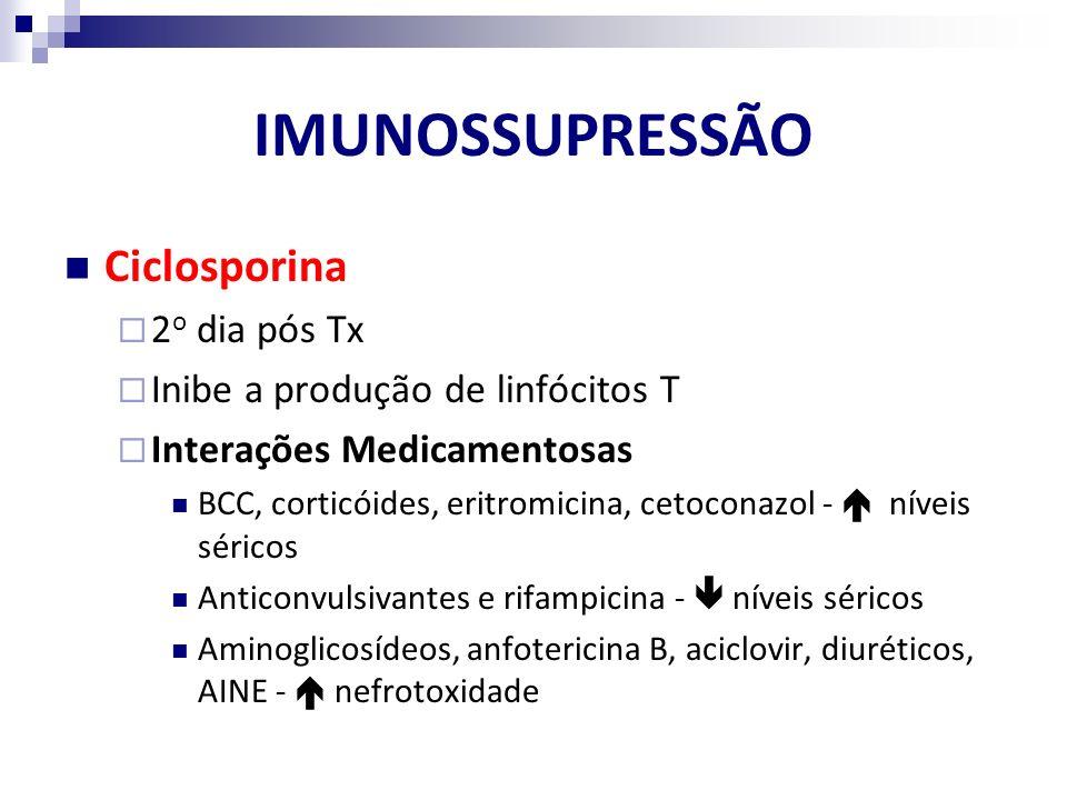 IMUNOSSUPRESSÃO Ciclosporina 2o dia pós Tx