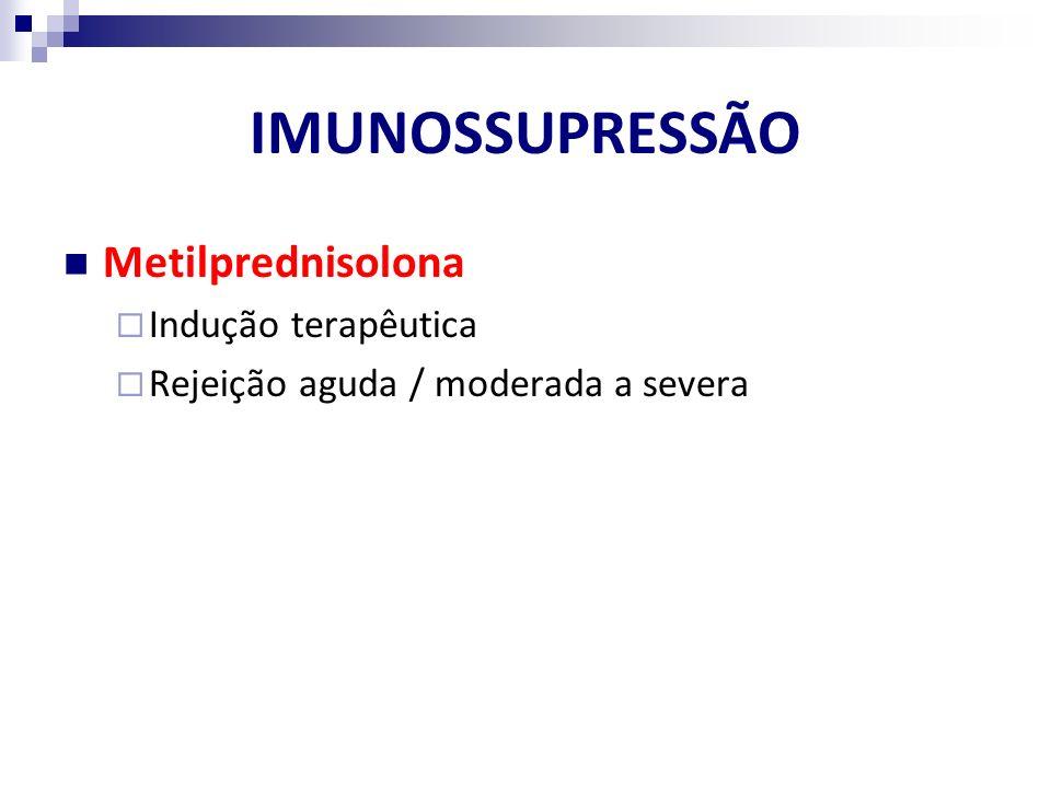 IMUNOSSUPRESSÃO Metilprednisolona Indução terapêutica