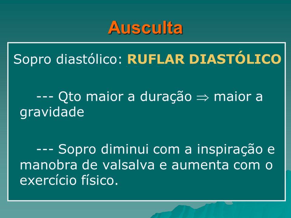 Ausculta Sopro diastólico: RUFLAR DIASTÓLICO