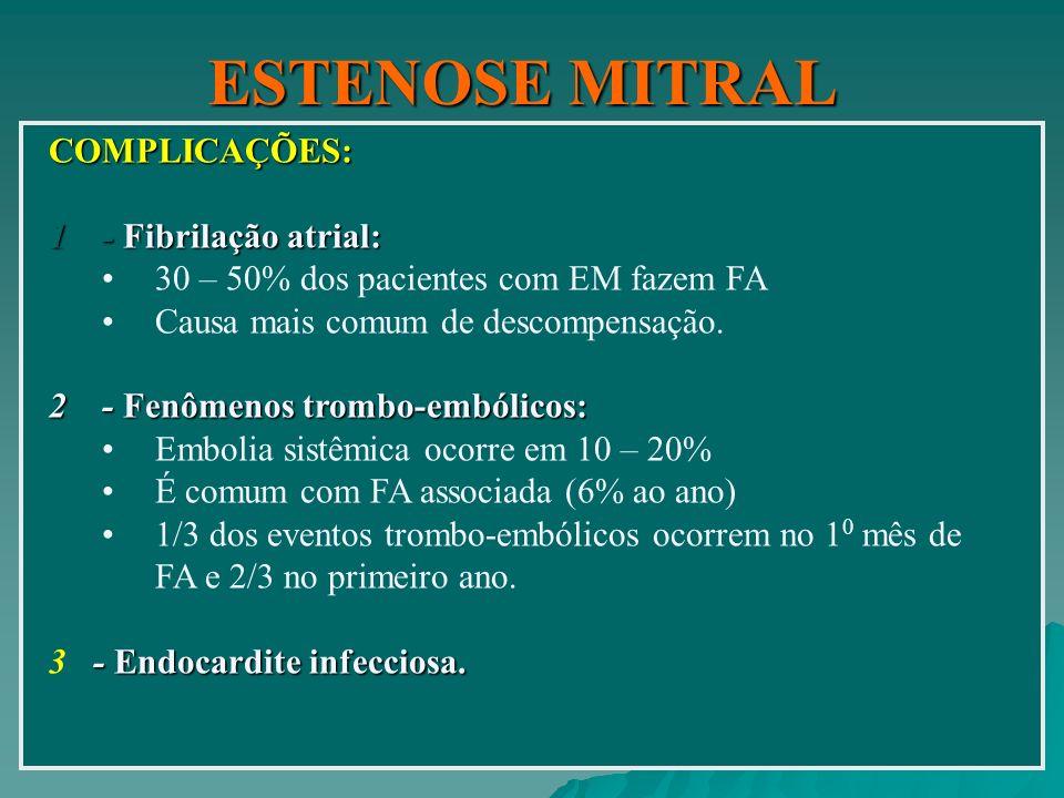 ESTENOSE MITRAL COMPLICAÇÕES: - Fibrilação atrial: