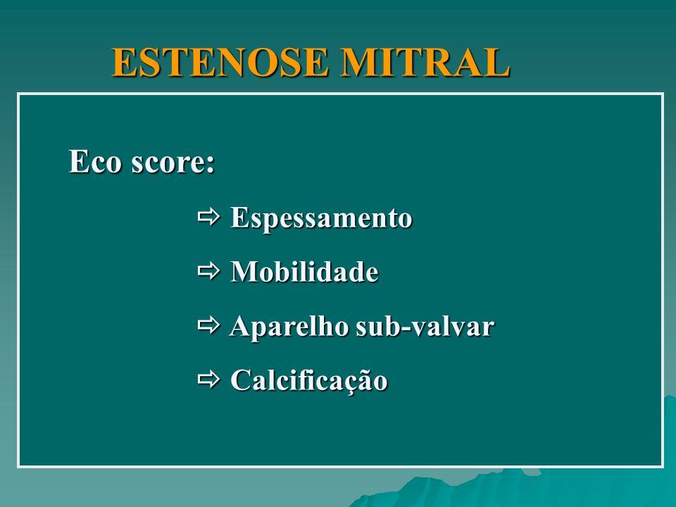 ESTENOSE MITRAL Eco score:  Espessamento  Mobilidade