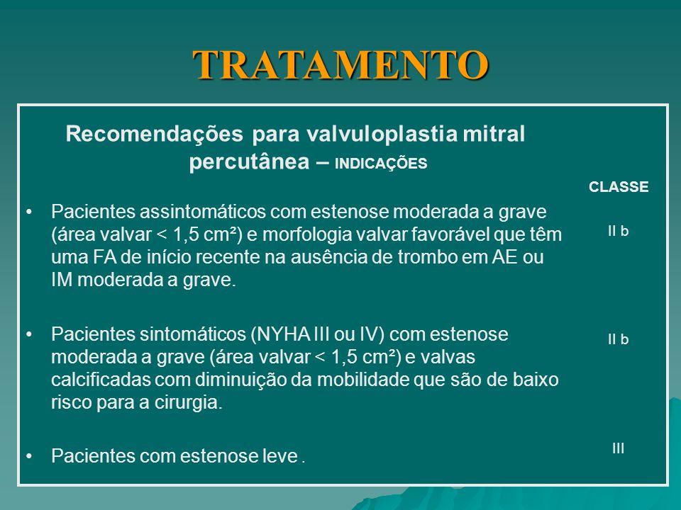 Recomendações para valvuloplastia mitral percutânea – INDICAÇÕES