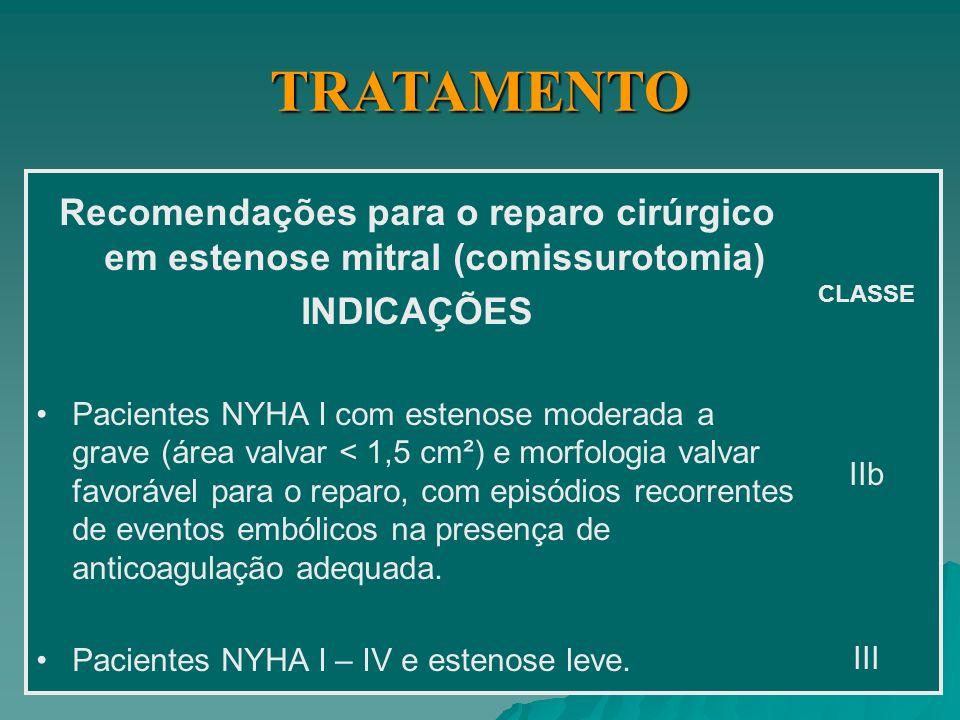 TRATAMENTO Recomendações para o reparo cirúrgico em estenose mitral (comissurotomia) INDICAÇÕES.
