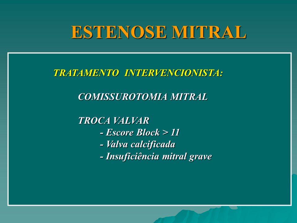 ESTENOSE MITRAL TRATAMENTO INTERVENCIONISTA: COMISSUROTOMIA MITRAL