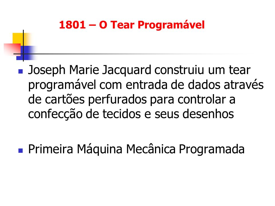 Primeira Máquina Mecânica Programada