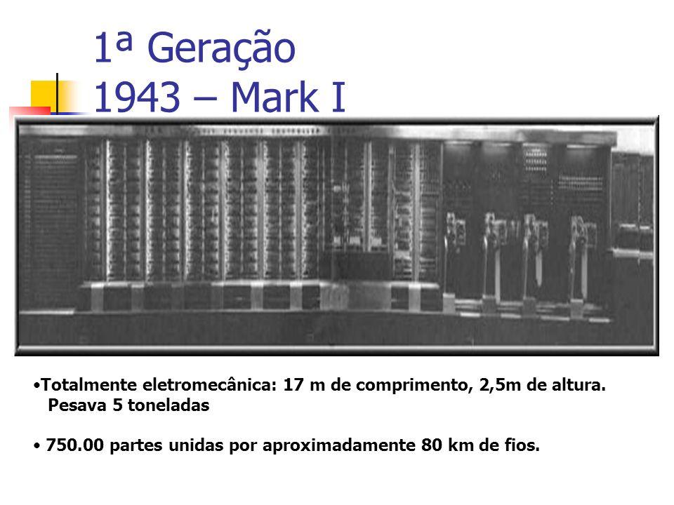 1ª Geração 1943 – Mark I Totalmente eletromecânica: 17 m de comprimento, 2,5m de altura. Pesava 5 toneladas.