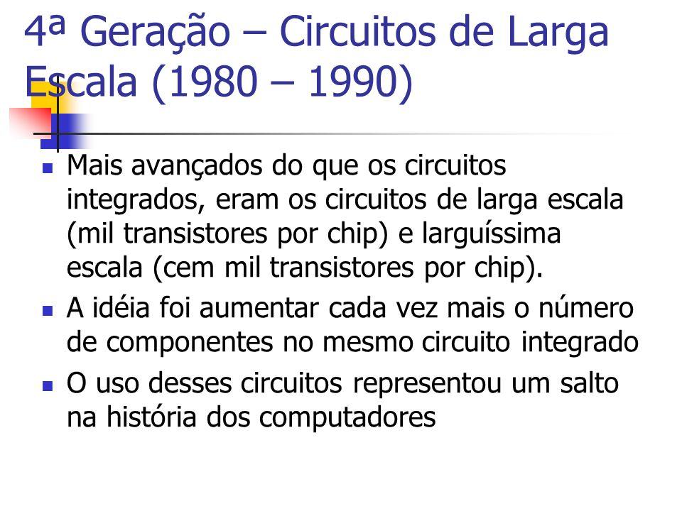 4ª Geração – Circuitos de Larga Escala (1980 – 1990)