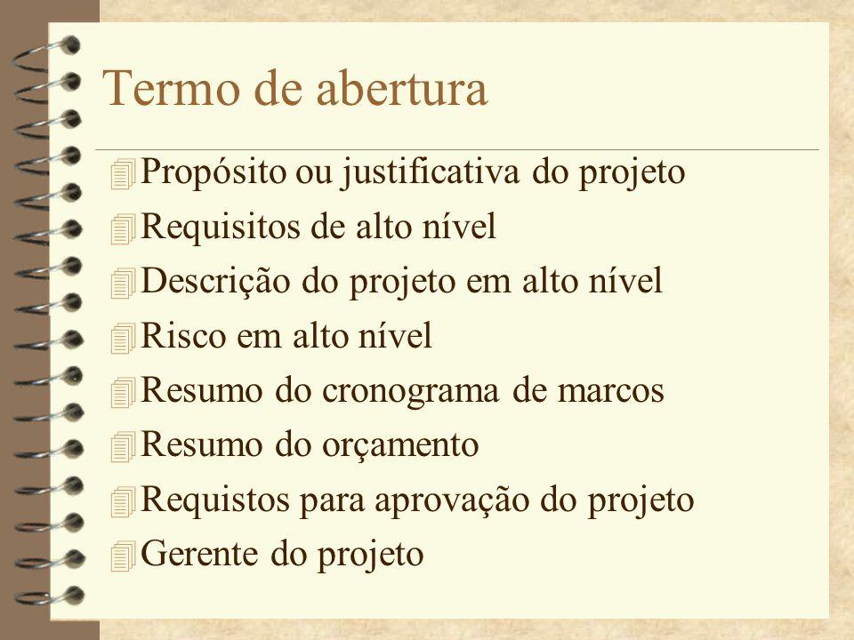 Termo de abertura Propósito ou justificativa do projeto