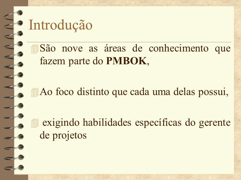 Introdução São nove as áreas de conhecimento que fazem parte do PMBOK,