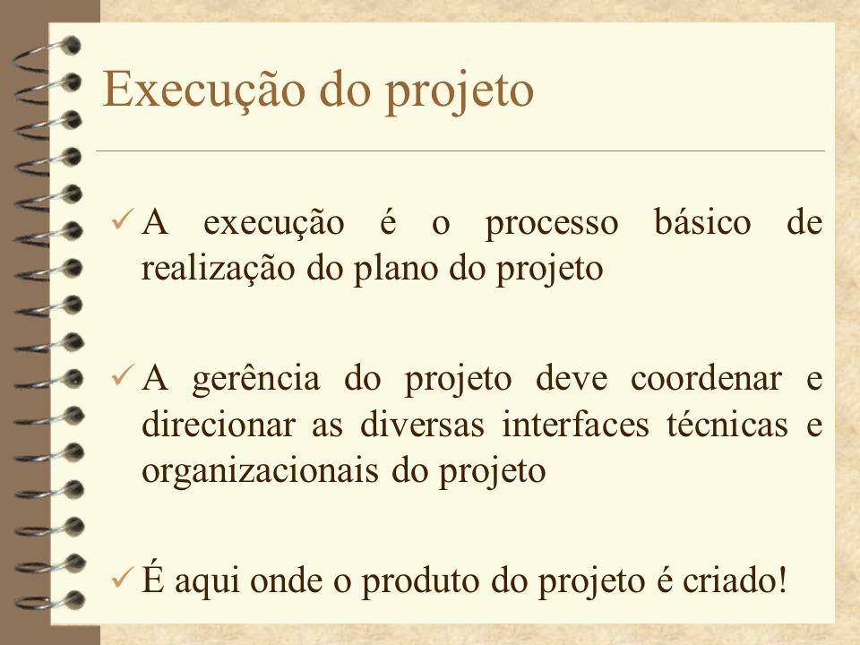 Execução do projeto A execução é o processo básico de realização do plano do projeto.