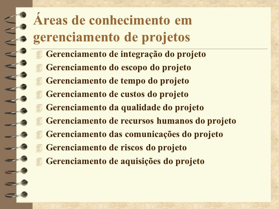 Áreas de conhecimento em gerenciamento de projetos