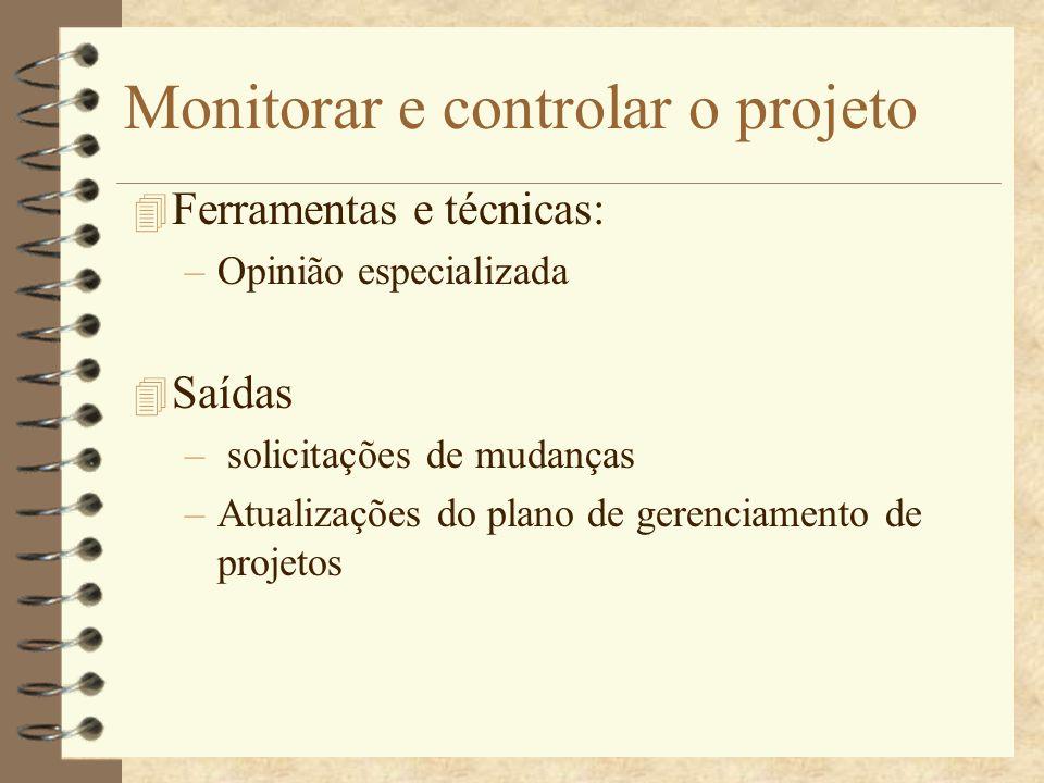 Monitorar e controlar o projeto