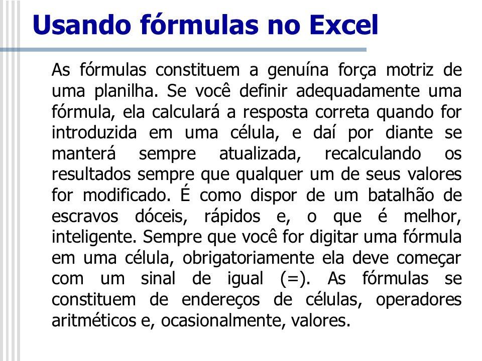 Usando fórmulas no Excel