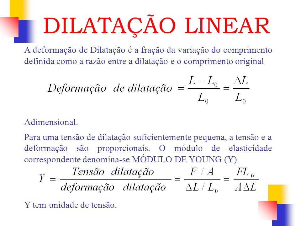 DILATAÇÃO LINEAR A deformação de Dilatação é a fração da variação do comprimento definida como a razão entre a dilatação e o comprimento original.